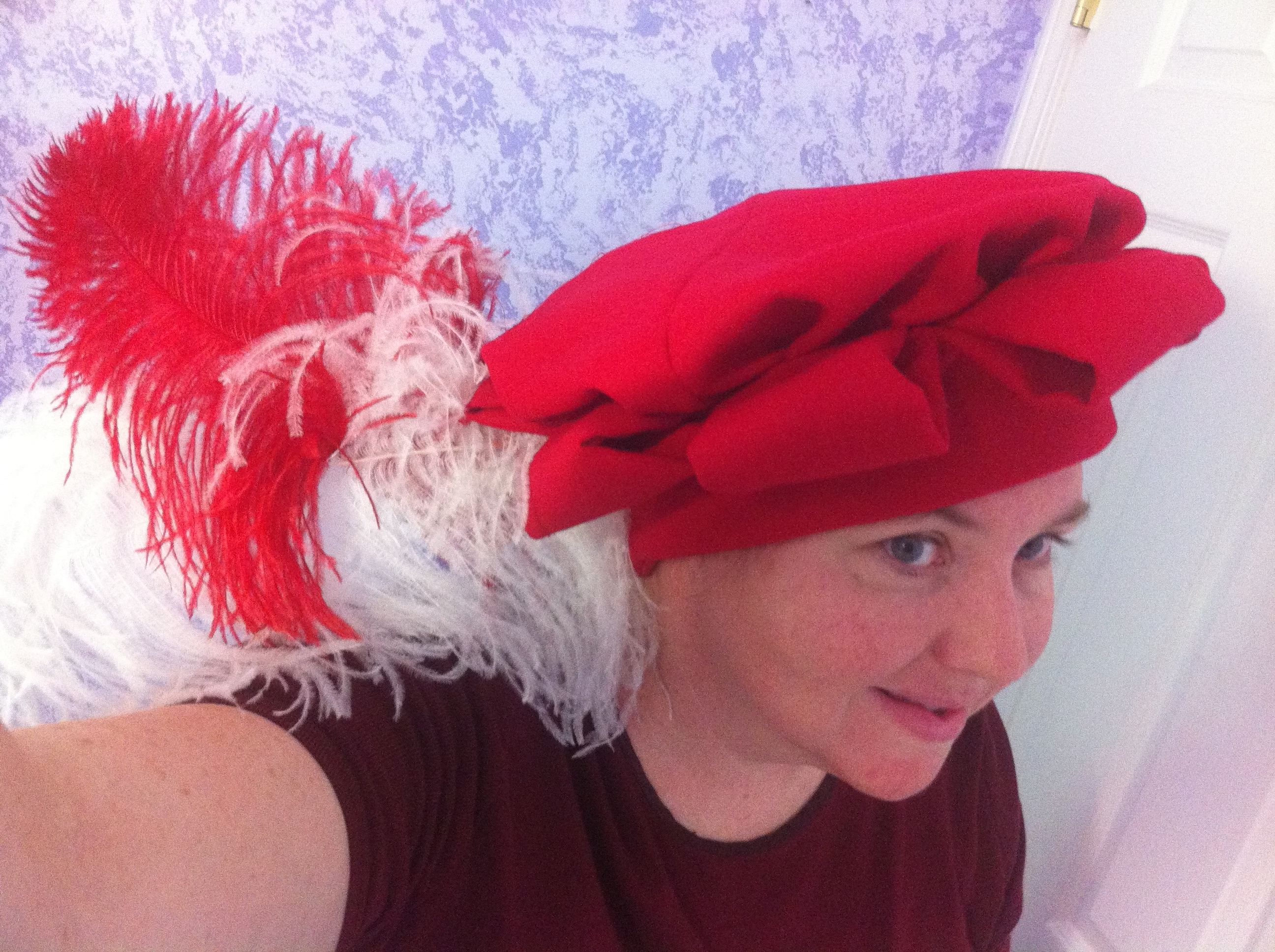 "Gregor s Red Wool Schlappe ""Starfish"" Hat — With Feathers Like the ... 00c7053bec6"